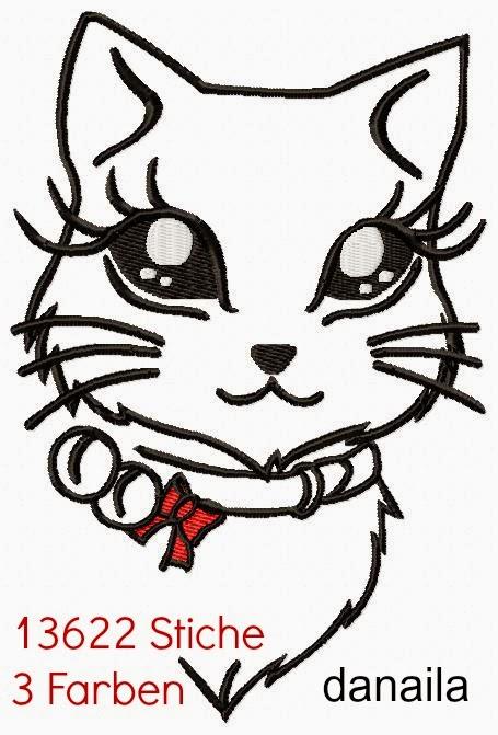 Stickdatei Katzenkopf 13 x 18