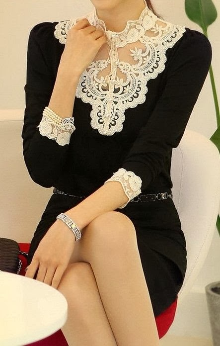 White lace neck black dress with bracelet