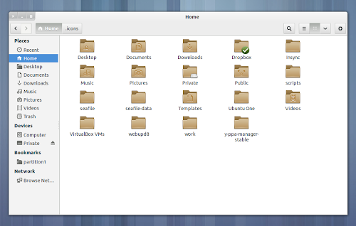 GNOME 3.8 lighter folder icons