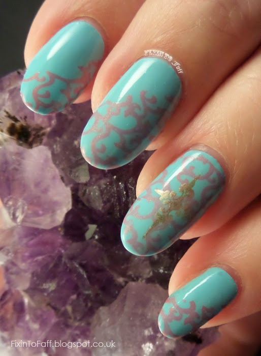 Mint with Coral Stamping nail art