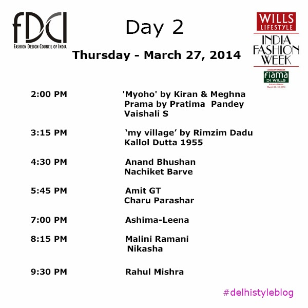 Wills Lifestyle India Fashion Week AW 14 Day 2 Schedule