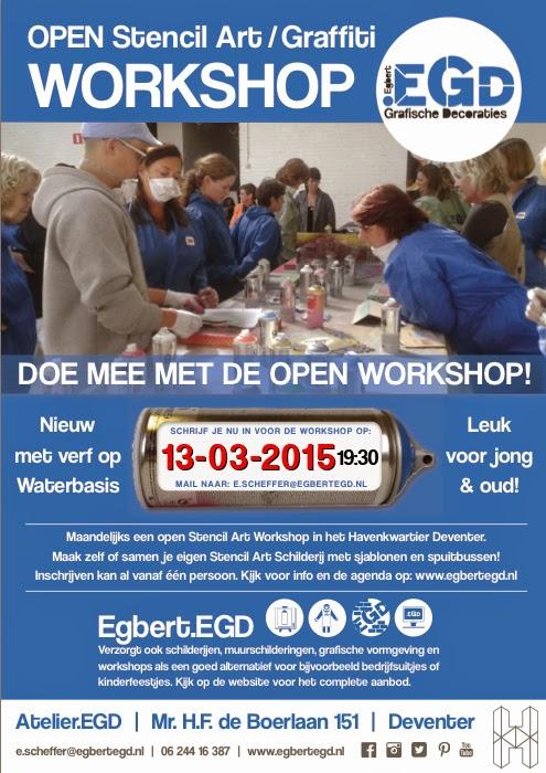 13 maart 2015: OPEN stencil Art / Graffiti Workshop.EGD