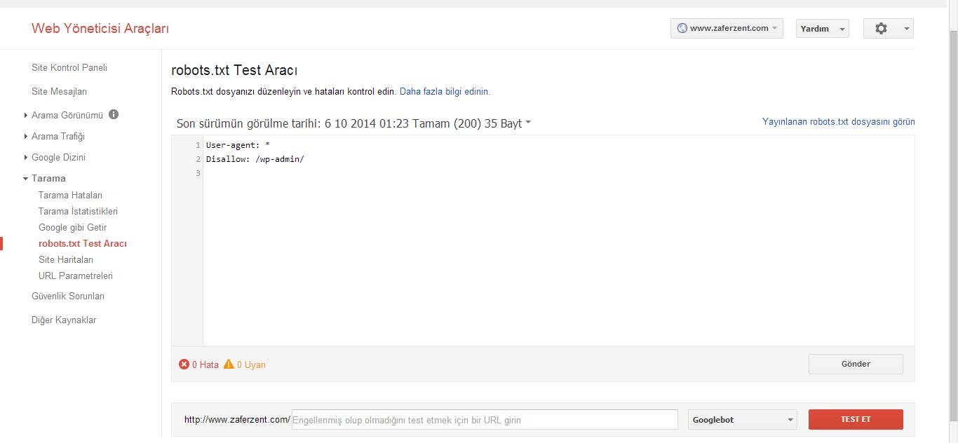 Google Webmaster Araçları robots.txt gönderimi