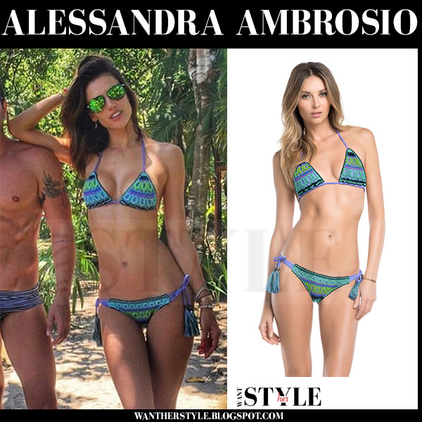 Alessandra Ambrosio in blue green crochet bikini ale by alessandra groupie what she wore