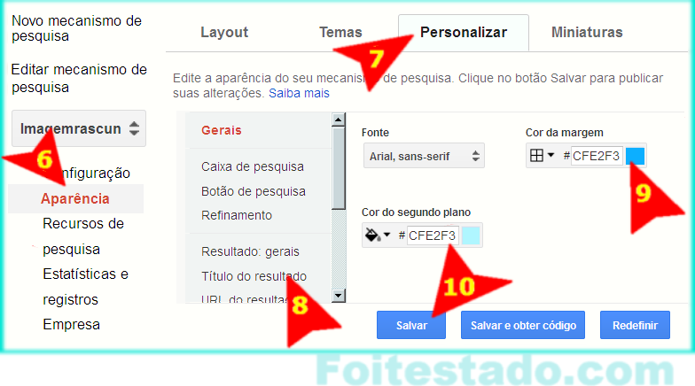 Personalizar mecanismo de busca google de sites e blogs