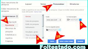 passos para personalizar mecanismo de busca google de sites e blogs