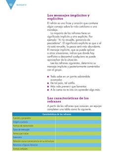 Apoyo Primaria Español 4to grado Bloque 2 lección 5 Escribir narraciones a partir de refranes
