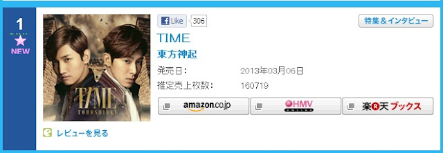 TVXQ TIME Oricon Chart