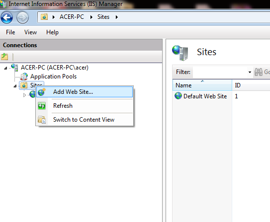 Add Website in IIS