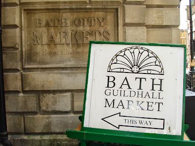 Bath Guildhall Market sign, UK