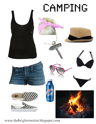 camping outfit 4: cut offs, tank, vans, swimming suit, Ray Bans, bandana, fedora www.thebrighterwriter.blogspot.com