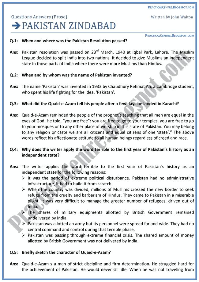 Pakistan-Zindabad-Prose-Questions-Answers-English-XI