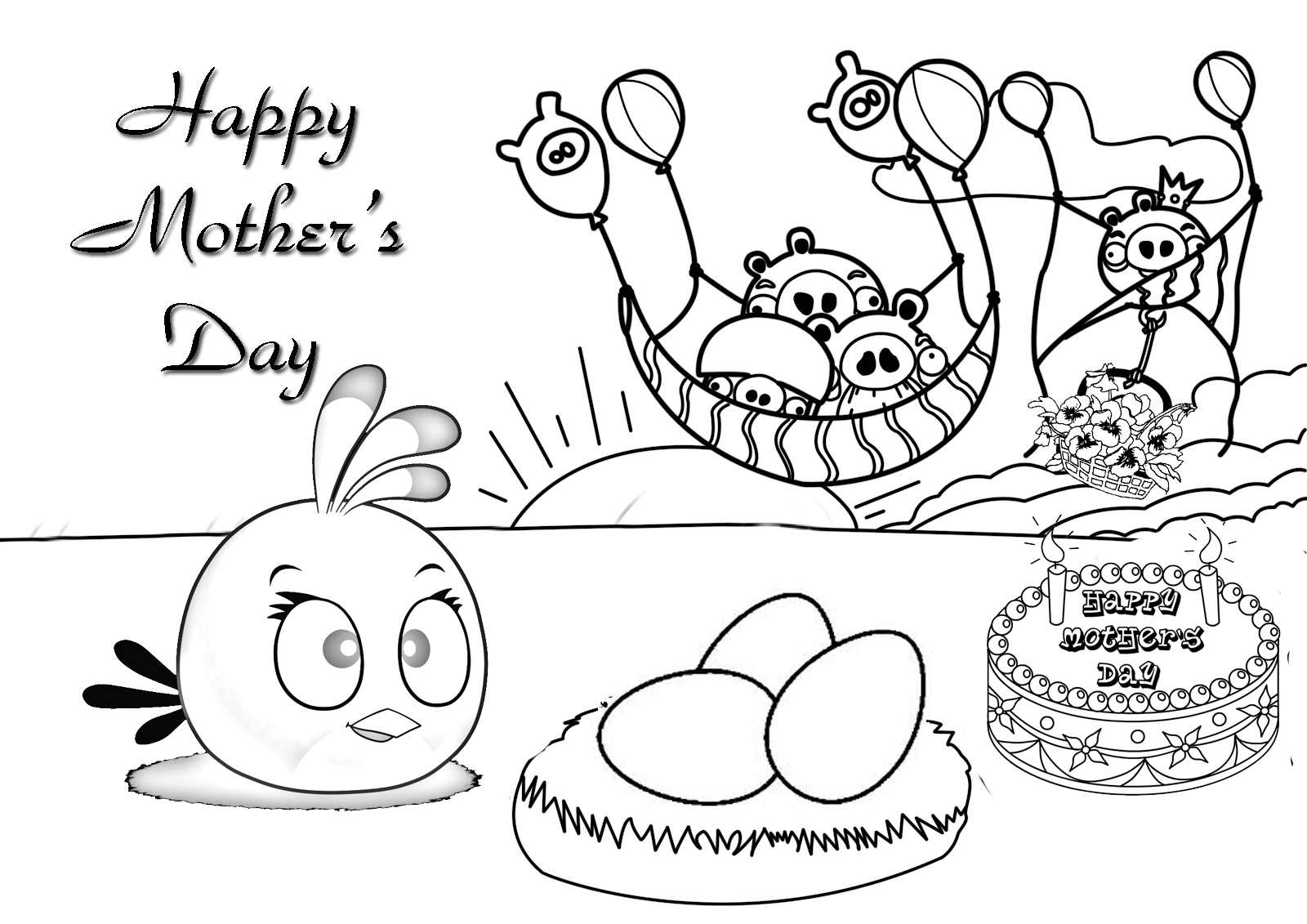 Happy Mothers Day Coloring Pages Angry Birds