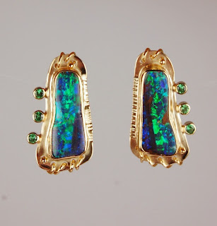 18k gold green boulder opal and green garnet earrings