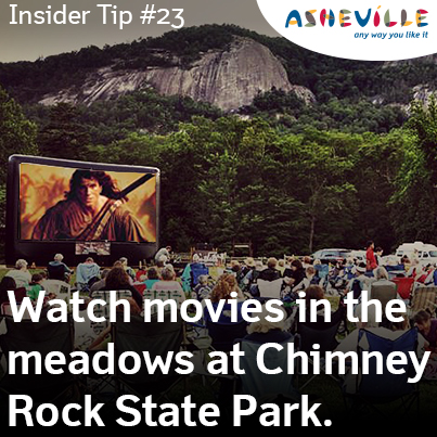 Asheville Insider Tip: Chimney Rock State Park Offers an Outdoor Movie Experience.