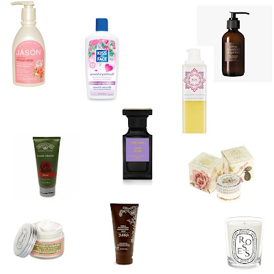 Valentine's Day, Top 10 rose scented beauty products, best rose beauty products, JASON Invigorating Rosewater Pure Natural Body Wash, John Masters Organics Rose Foaming Face Wash, Le Couvent des Minimes Complete Moisturizing Cream, Nature's Gate Rose Hand Cream, TokyoMilk Rosewater Bon Bon Lip Balm, Tom Ford Jardin Noir Cafe Rose Eau de Parfum, Kiss My Face Peaceful Patchouli Shower Gel, JUARA Rose & Willow Bark Blemish-Free Mask, Diptyque Roses Scented Candle, REN Skincare Moroccan Rose Otto Body Wash