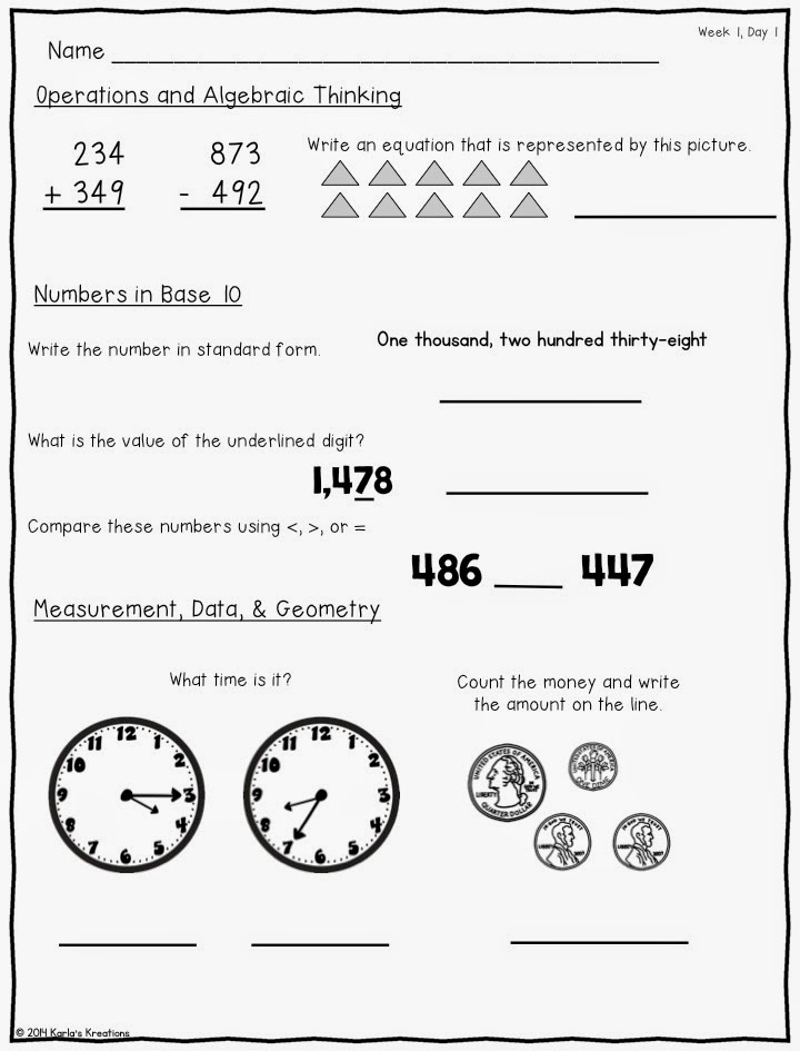 Karla\'s Kreations: August Morning Math: Kinder and 3rd Grade ...