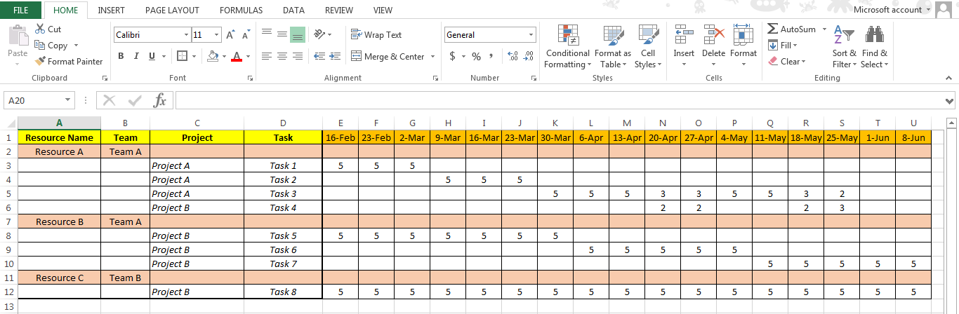 Excel Resource Plan