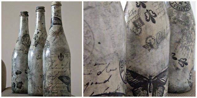 decoupage butelka styl rustykalny eco manufaktura