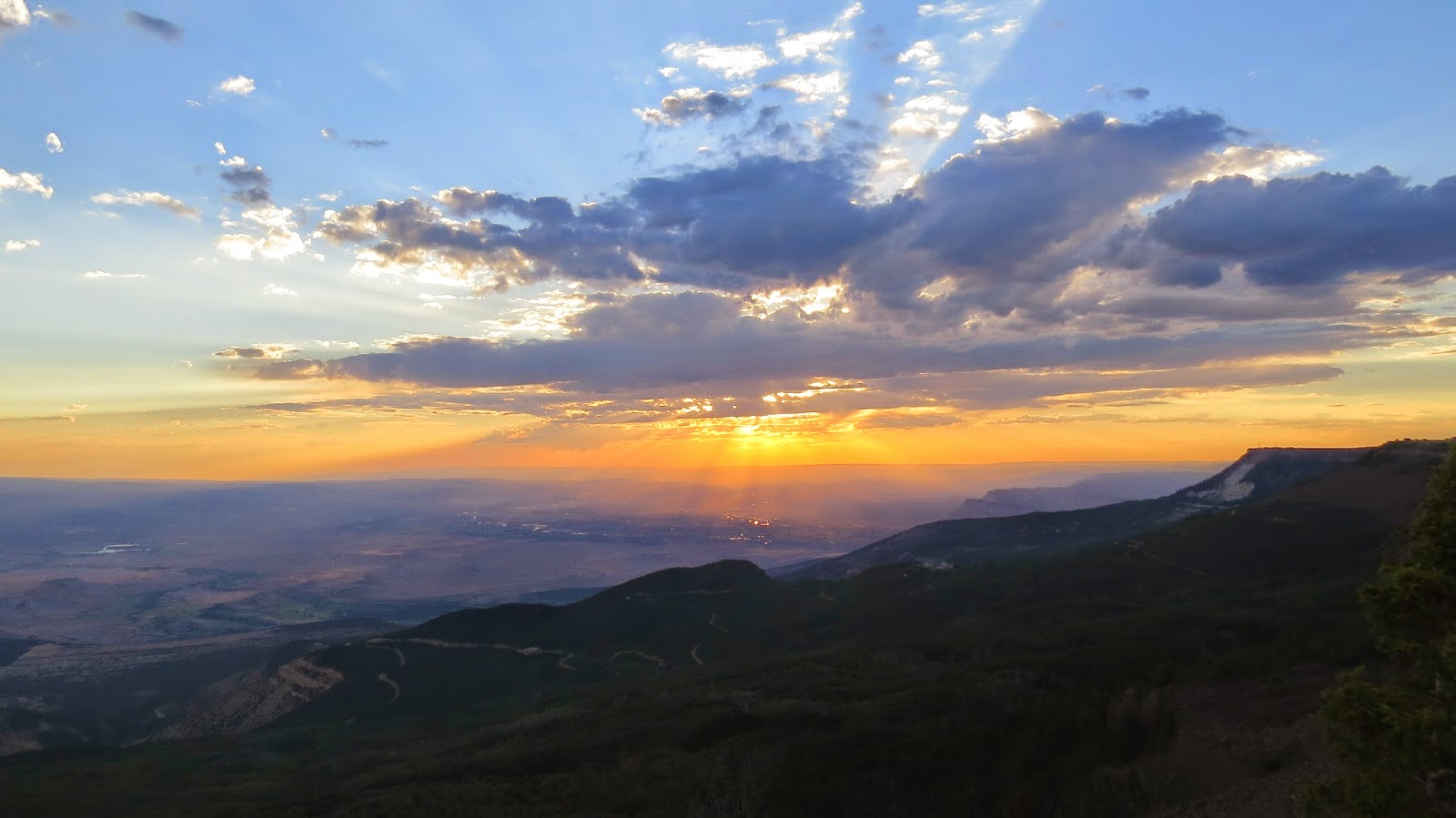 Sunset looking towards Utah from Grand Mesa, Colorado