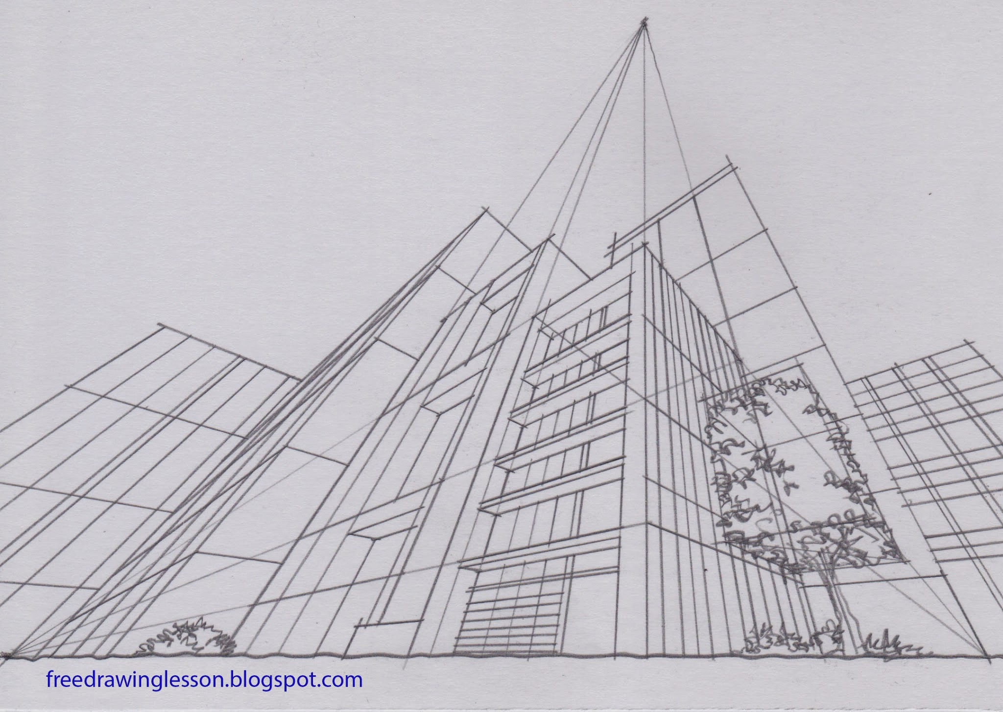 Perspective Drawings Of Buildings draw buildings in three point perspective | learn to draw