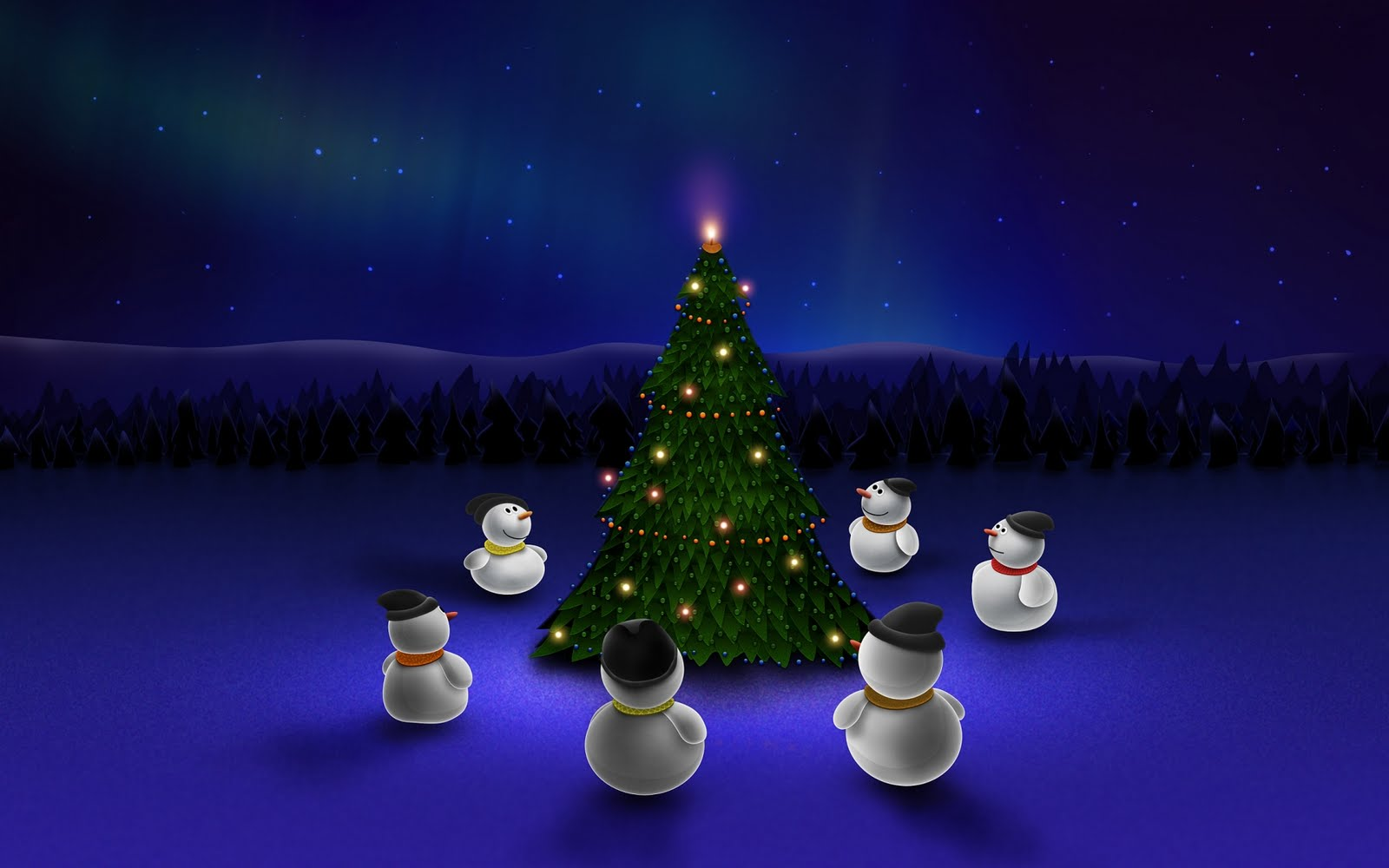 Muñecos de nieve alrededor del árbol de Navidad
