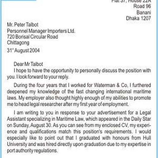 a letter of application in response to an advertisement and apply for the job