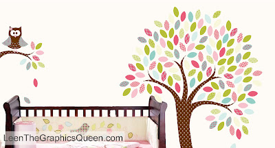 tree owl wall decal