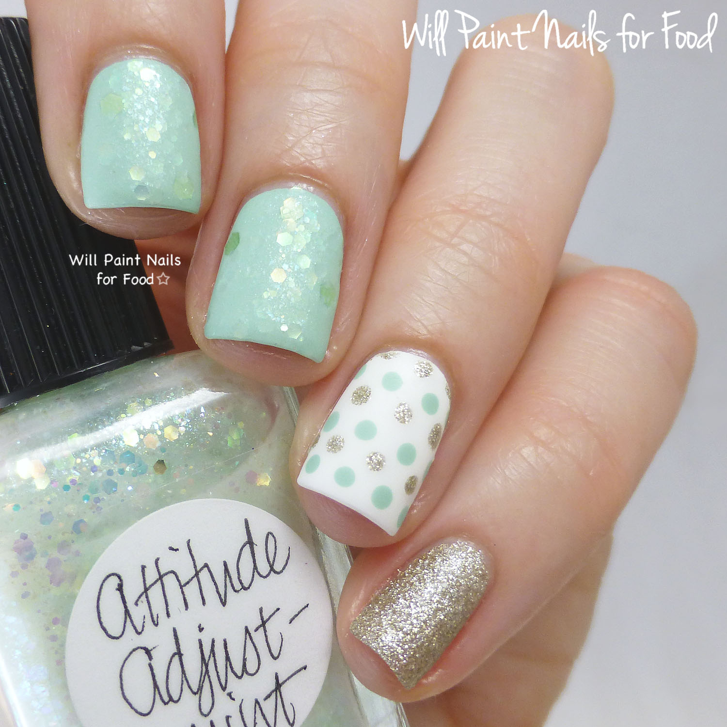 Lynnderella attitude adjust mint swatches and nail art will lynnderella attitude adjust mint i topped it all off with girly bits glitter glaze and essie matte about you for me the matte finish really makes this prinsesfo Gallery
