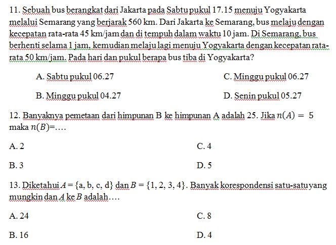 Soal Relasi Fungsi Matematika