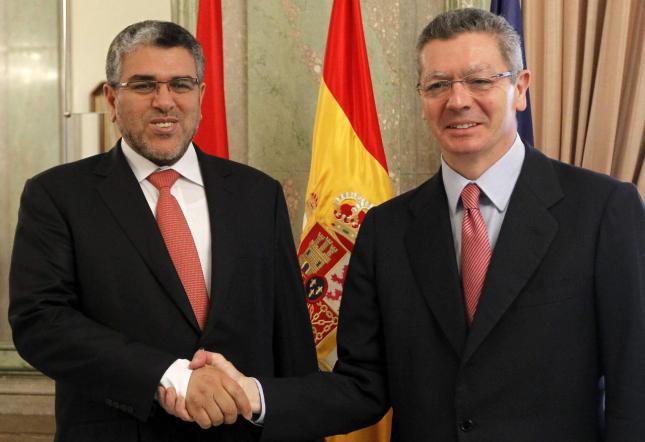 Alberto Ruíz-Gallardón, el ministro de Justicia con su homólogo de Marruecos, Mustafa Ramid
