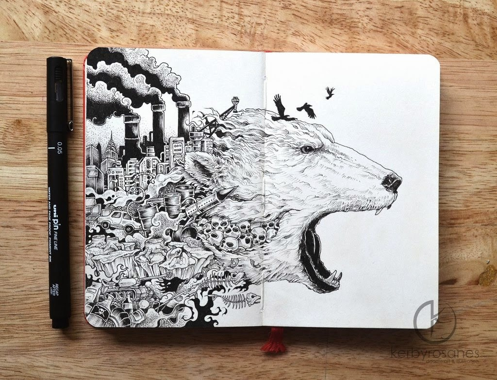 21-Meltdown-Kerby-Rosanes-Detailed-Moleskine-Doodles-Illustrations-and-Drawings-www-designstack-co