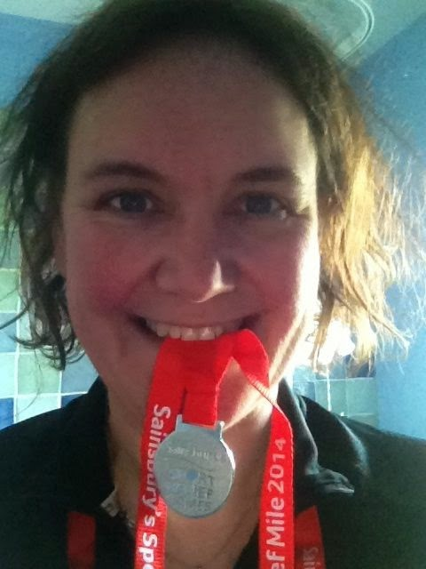 Eating a sport relief medal