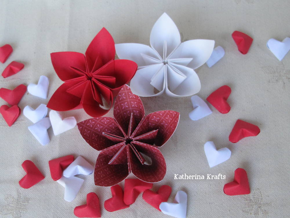 Katherina krafts puffy 3d origami hearts httpetsylisting91468245red and white origami 3d hearts for mightylinksfo