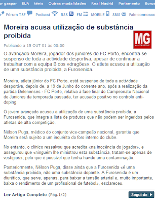 Moreira, atleta júnior do FC Porto, está suspenso de toda a actividade desportiva, depois ter acusado positivo no controlo anti-doping.