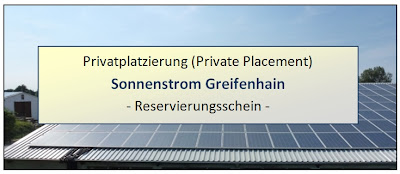 Privatplatzierung Sonnenstrom Greifenhain 2013 Rendite Bewertung Platzierung Private Placement Photovoltaik Dachanlagen