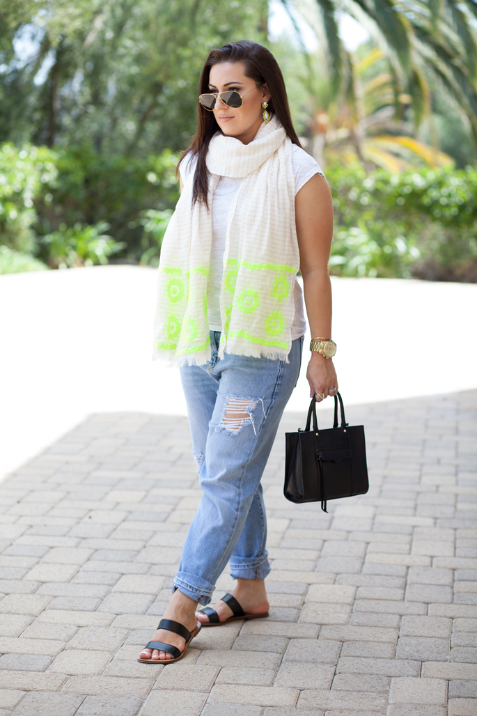 ray ban sunglasses, neon scarf, distressed boyfriend jeans, double strap sandals