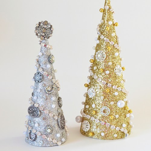 glittery mache trees decorated with old jewellery, beads and chains