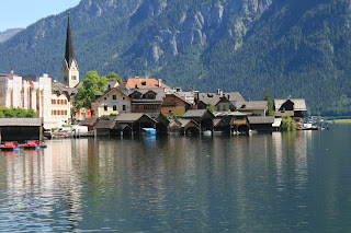 Near the center of Hallstatt, Austria - a view of the boat houses
