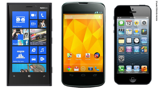 iOS 6, Android 4.0 hay Windows Phone 8