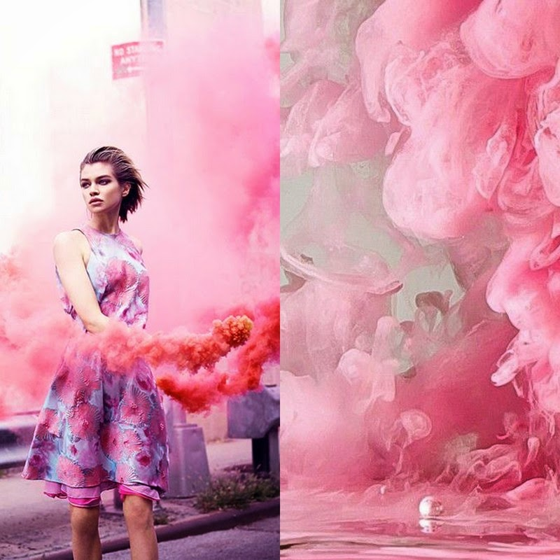 pink, high fashion, editorial, smoke