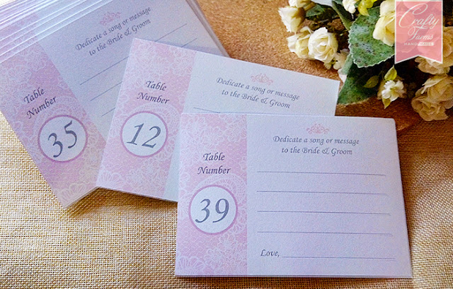 Wedding Table Number Song Suggestion Card
