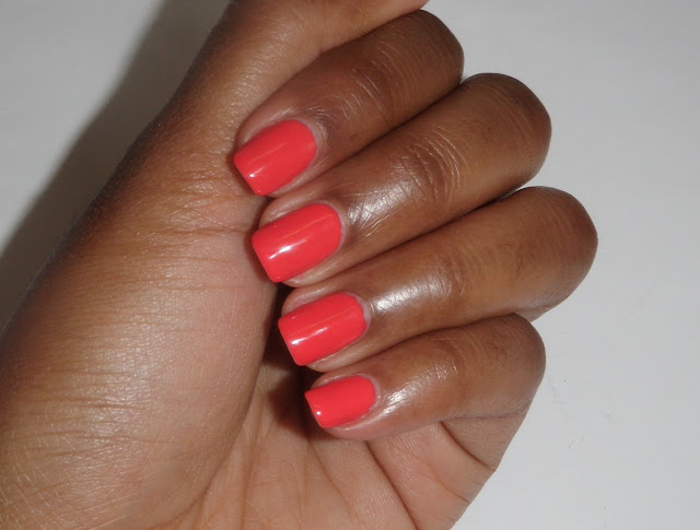 Review and swatches of coral nail polish Strike a Pose by Nicole by OPI Kardashian Kollection.