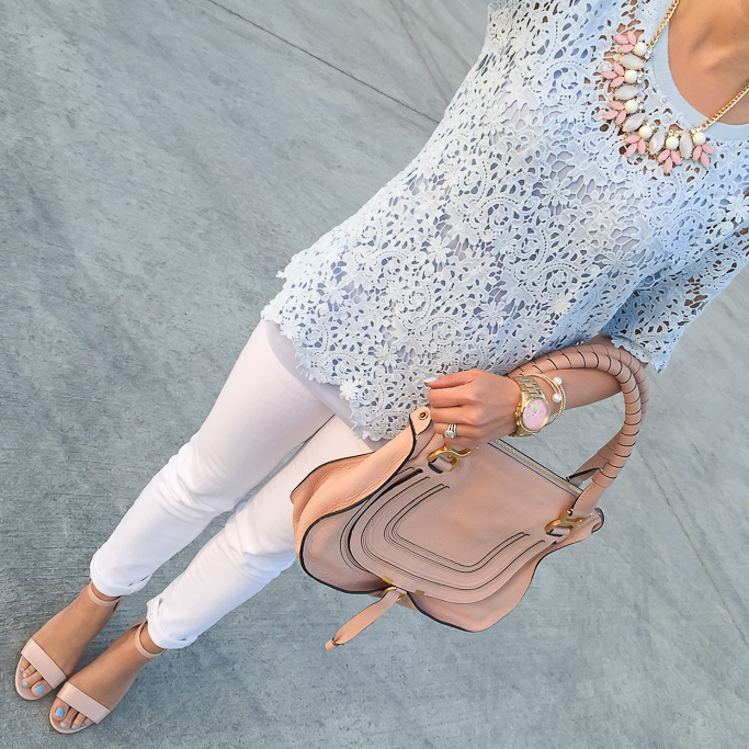 BP leaf necklace BP luminate blush nude sandals Chicwish Baroque Lace Cutout Top in Blue Chloe marcie small leather satchel white jeans