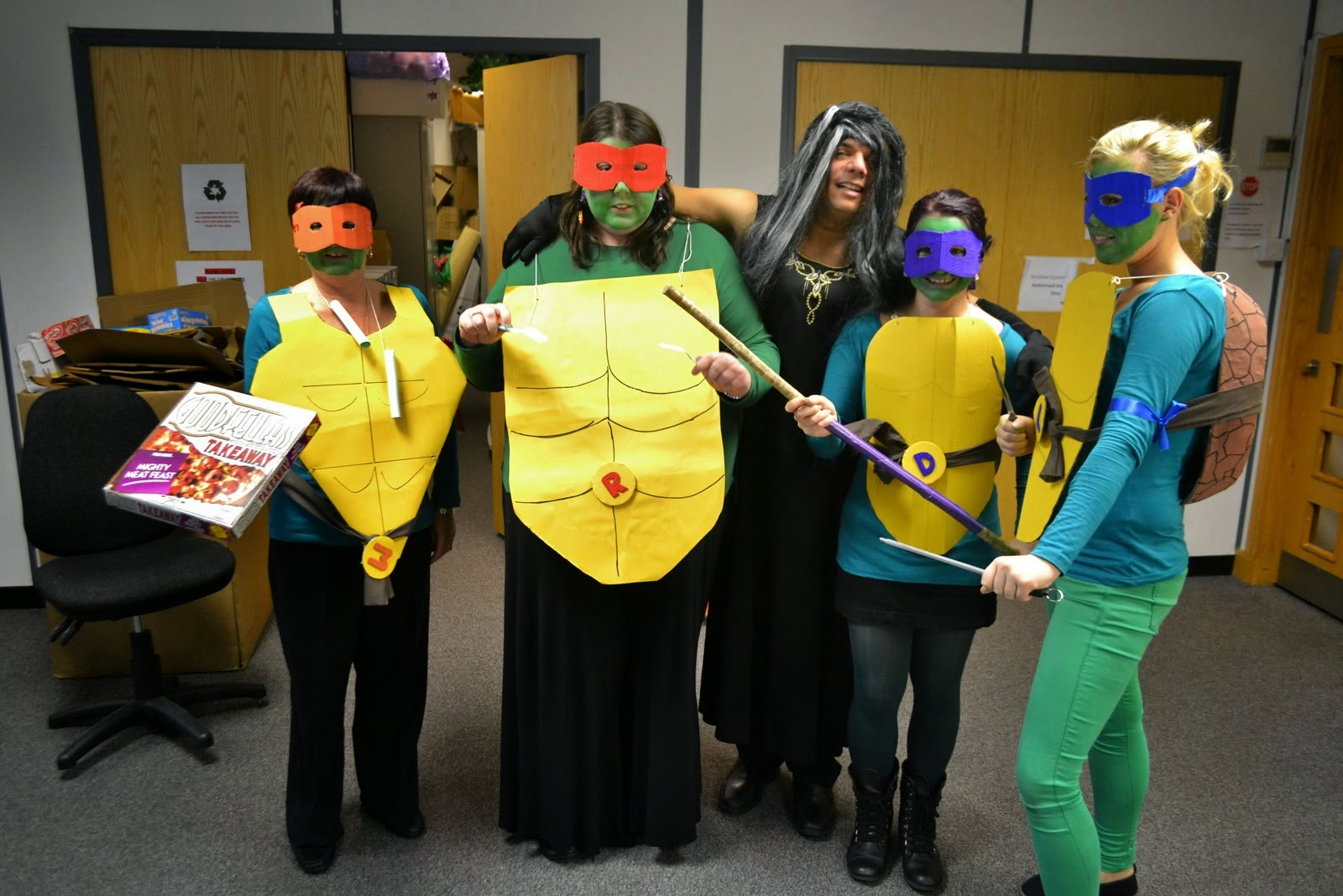 Homemade Ninja Turtles Costumes Office Edition