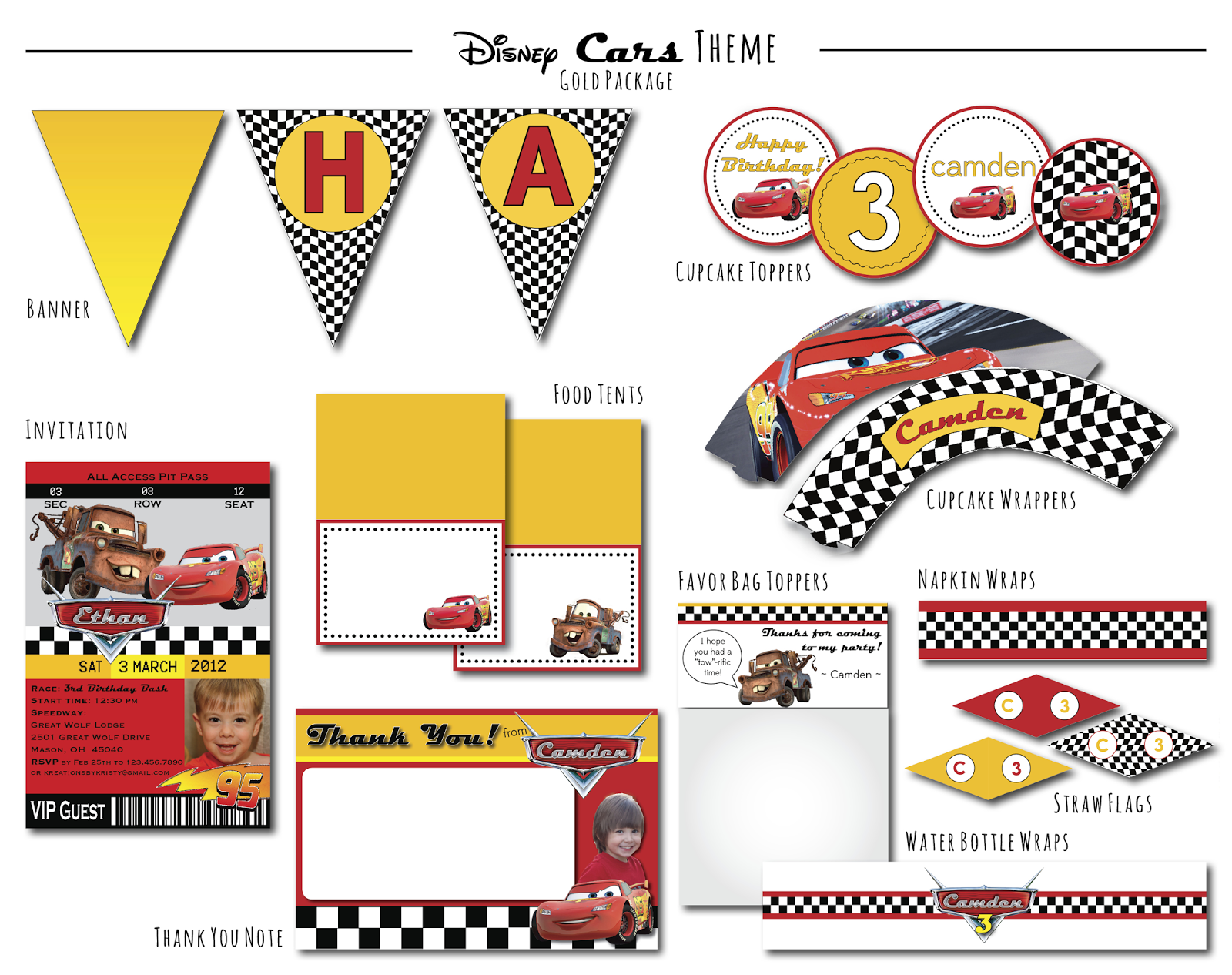 Disney Cars Theme Gold Package | kreations by kristy