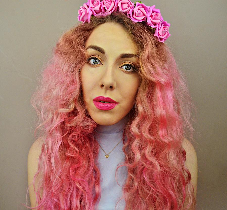 Stephi LaReine, UK Fashion Blogger, pink hair, flower crown, eye sheinside dress, fudge paintbox pretty flamingo, NV lipstick, models own in bubblegum, autumn river clothing