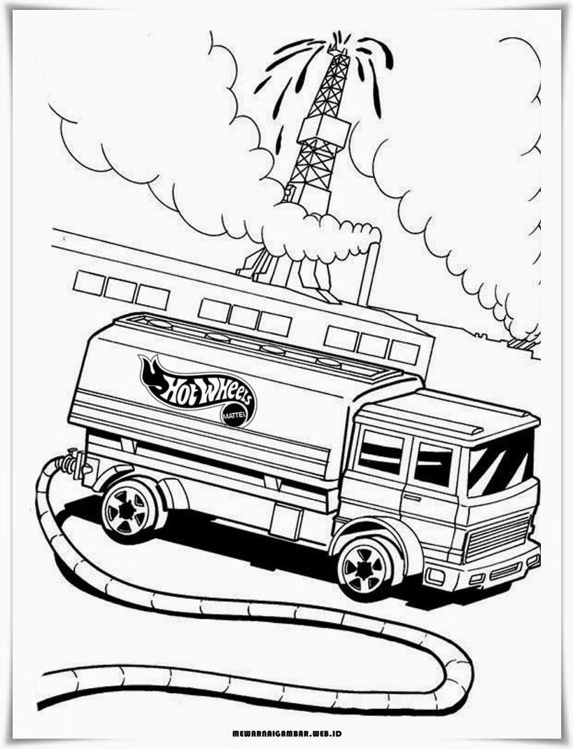 gambar mewarnai mobil truk hot wheels