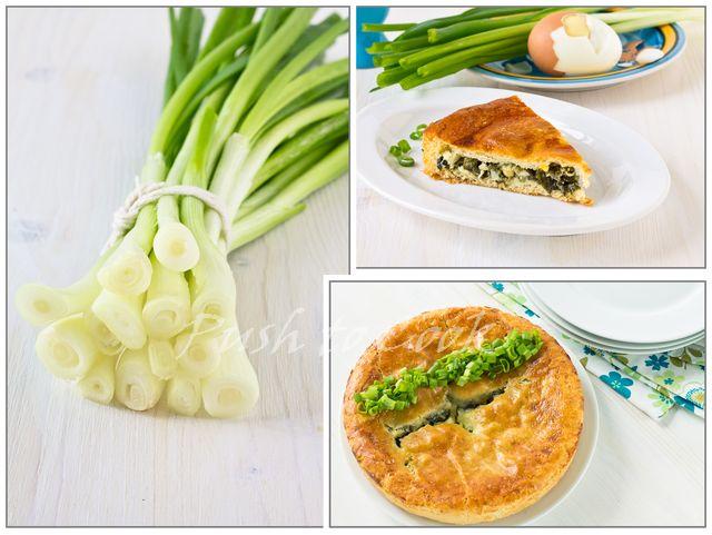 Дрожжевой пирог с зелёным луком и яйцом