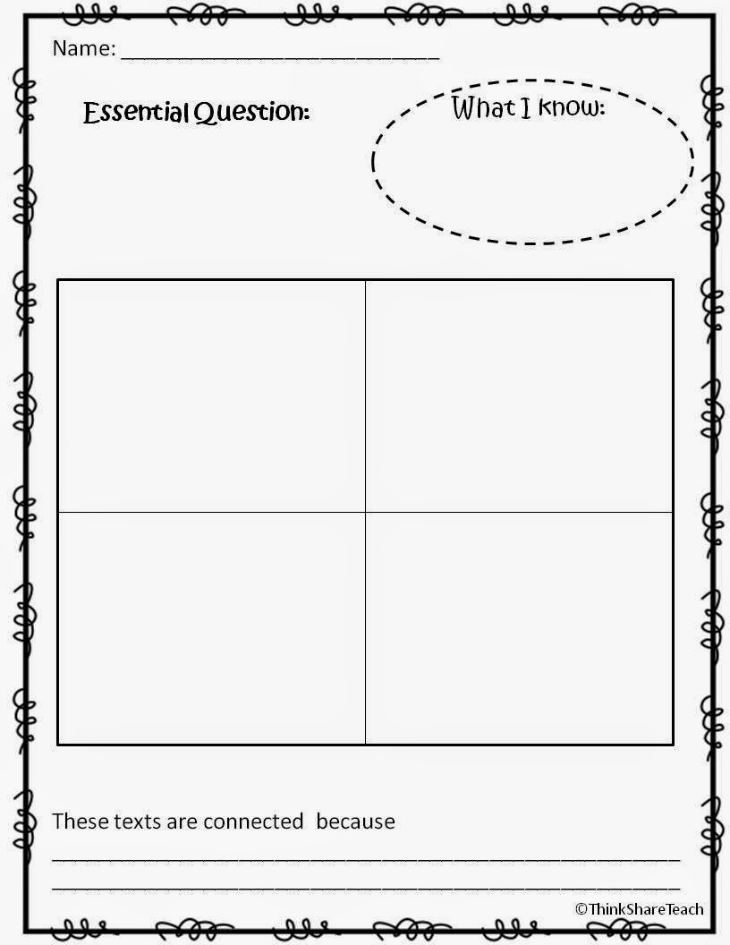 Think Share Teach Making Connections Lesson Freebie – Text to Text Connections Worksheet